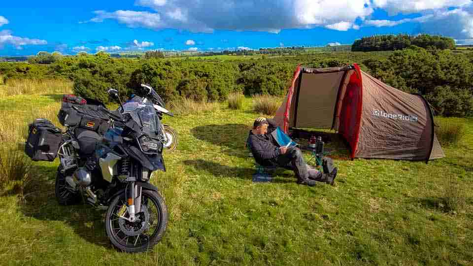 Sitting in front of a lonerider moto tent