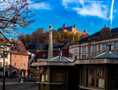 kulmbach town in autumn. Picture on old town market